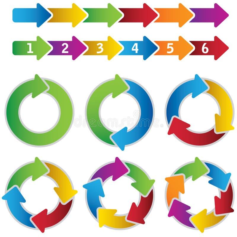 Insieme dei diagrammi del cerchio e delle frecce vibranti del grafico illustrazione di stock
