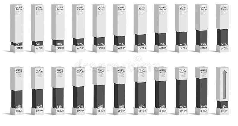 Insieme dei diagrammi di grafici di percentuale per il infographics, 0 5 10 15 20 25 30 35 40 royalty illustrazione gratis