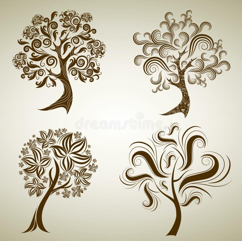 Insieme dei disegni con l'albero dai fogli. Ringraziamento