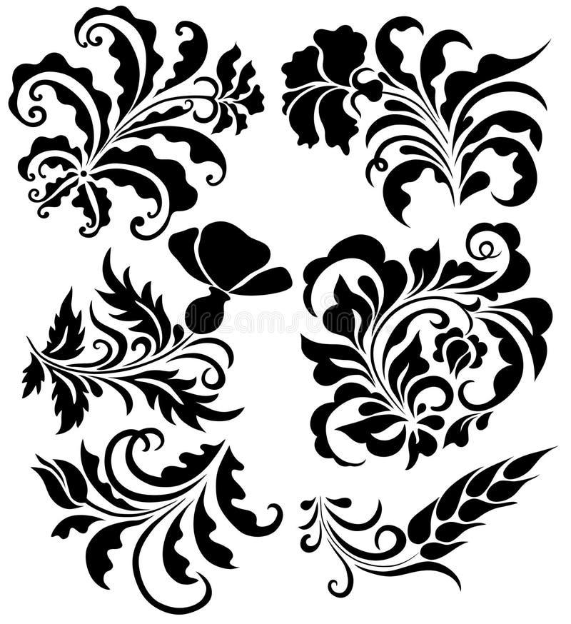 Insieme dei disegni floreali illustrazione vettoriale