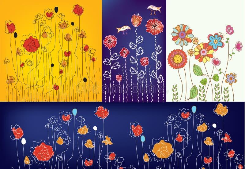 Insieme dei disegni floreali royalty illustrazione gratis