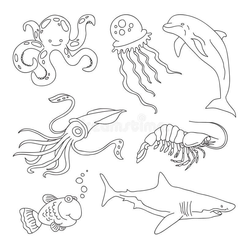 Insieme dei disegni dei residenti marini - uno squalo, calamaro, pesce, medusa, delfino, gamberetto, polipo immagini stock