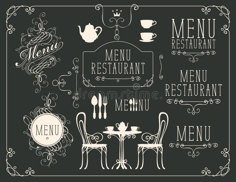 Insieme dei disegni sul tema del menu del ristorante illustrazione di stock
