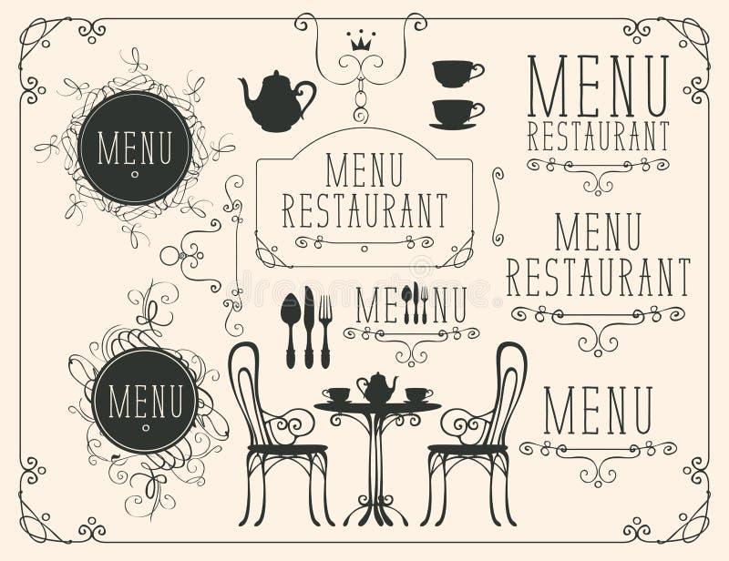 Insieme dei disegni sul tema del menu del ristorante illustrazione vettoriale