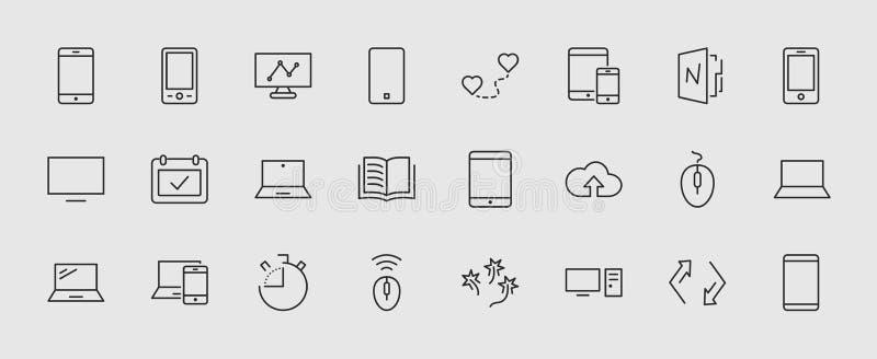 Insieme dei dispositivi e aggeggi astuti, materiale informatico ed elettronica Icone degli apparecchi elettronici per il web ed i illustrazione vettoriale