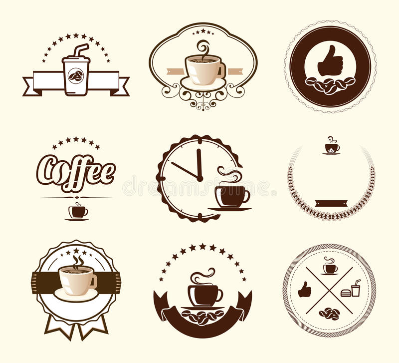 Insieme dei distintivi d'annata e delle etichette del caffè royalty illustrazione gratis