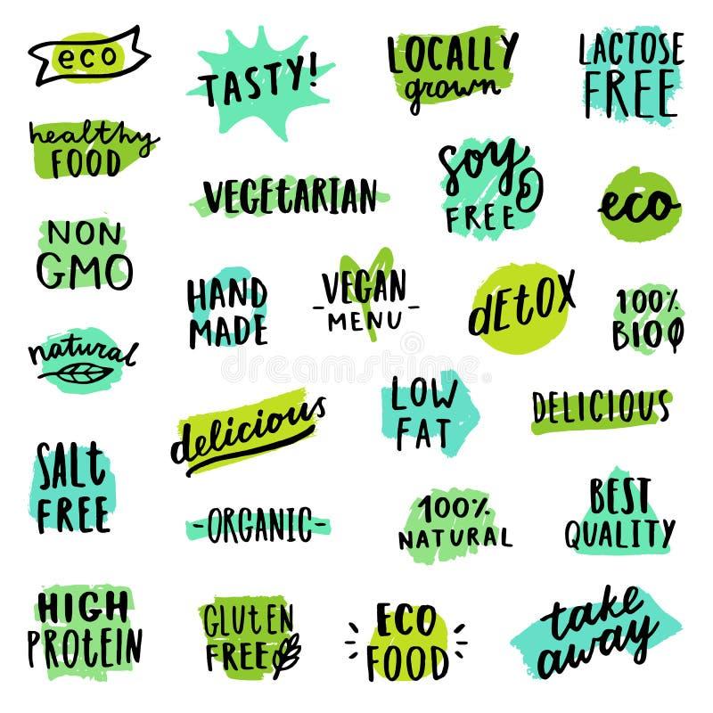 Insieme dei distintivi dell'alimento illustrazione di stock