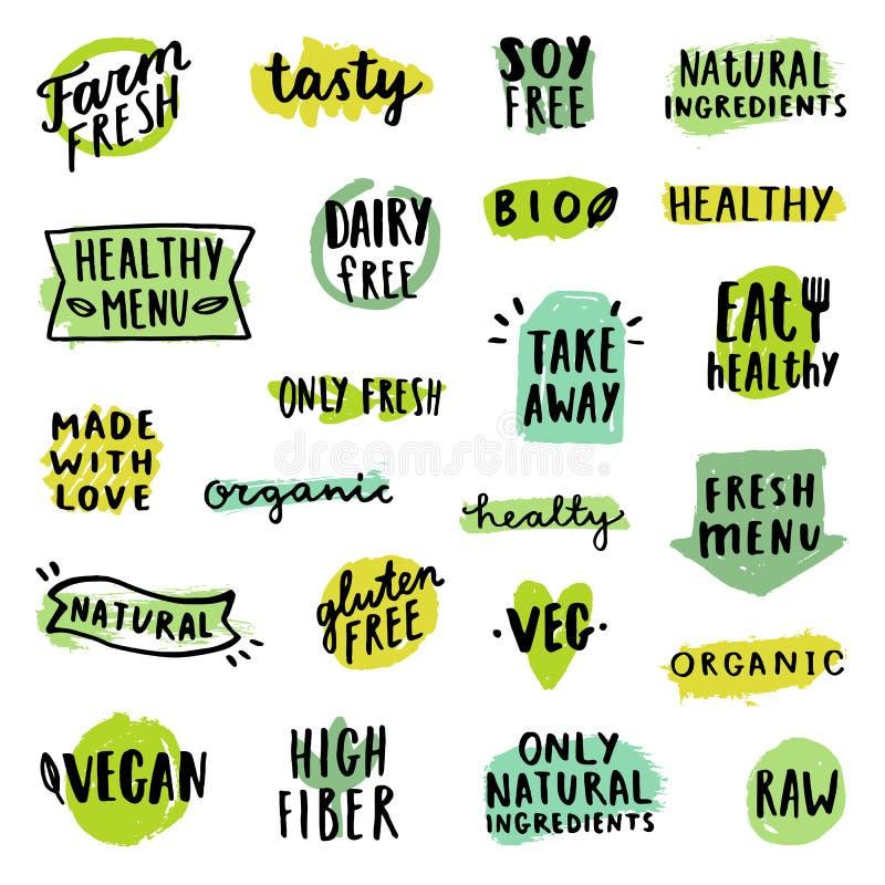 Insieme dei distintivi dell'alimento illustrazione vettoriale