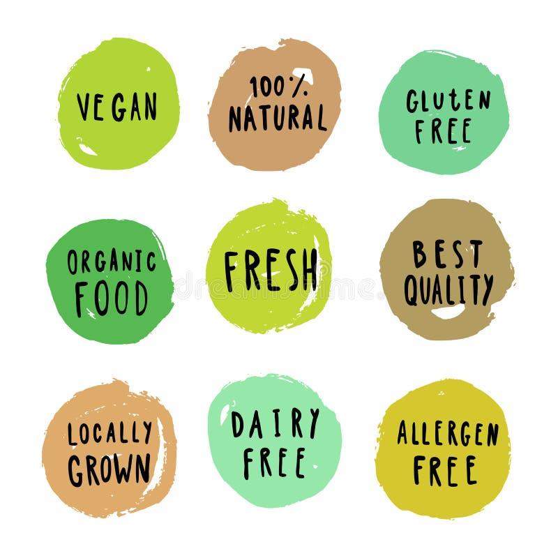 Insieme dei distintivi dell'alimento Vegano, glutine, ecc illustrazione vettoriale