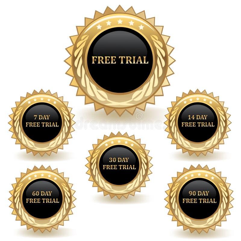 Insieme dei distintivi di prova dell'oro royalty illustrazione gratis