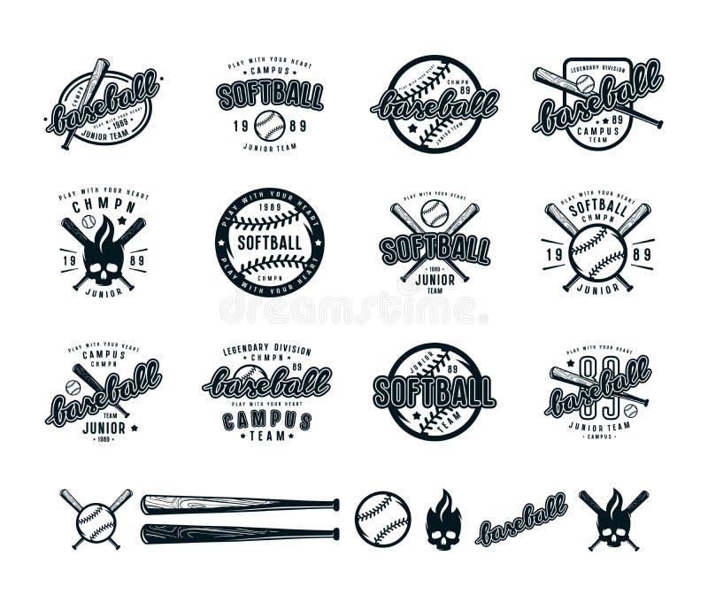 Insieme dei distintivi di softball e di baseball illustrazione vettoriale