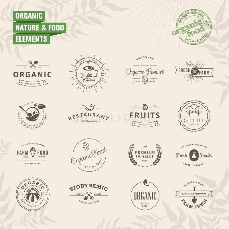 Insieme dei distintivi e degli elementi delle etichette per organico illustrazione di stock