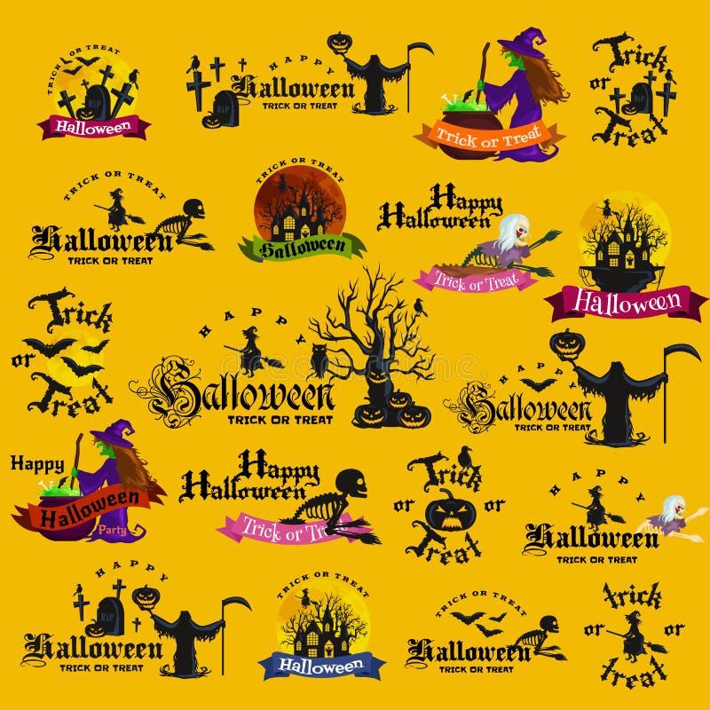 Insieme dei distintivi e delle etichette felici di Halloween royalty illustrazione gratis