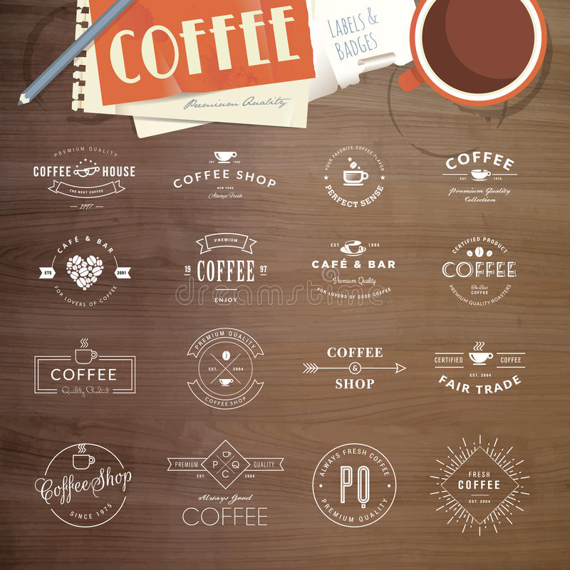 Insieme dei distintivi e delle etichette per caffè illustrazione di stock