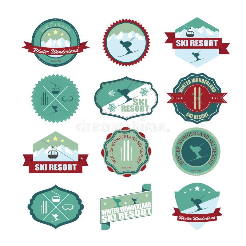 Insieme dei distintivi e delle toppe della montagna dello sci royalty illustrazione gratis