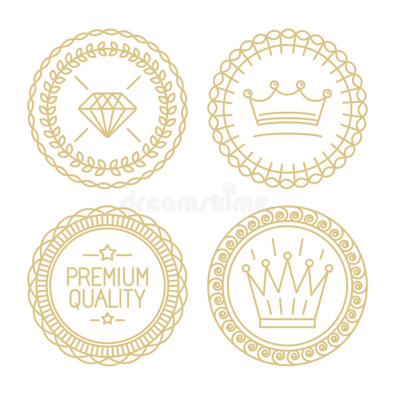 Insieme dei distintivi lineari - qualità premio e migliore scelta royalty illustrazione gratis