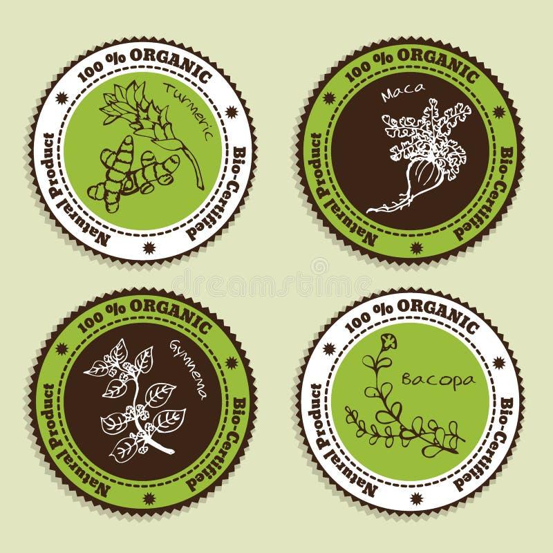 Insieme dei distintivi naturali del prodotto biologico illustrazione di stock
