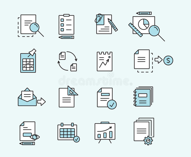 Insieme dei documenti lineari di progettazione delle icone per l'affare, la finanza e la comunicazione Illustrazione di vettore royalty illustrazione gratis