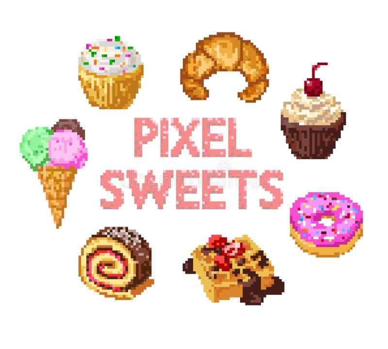 Insieme dei dolci del pixel illustrazione di stock