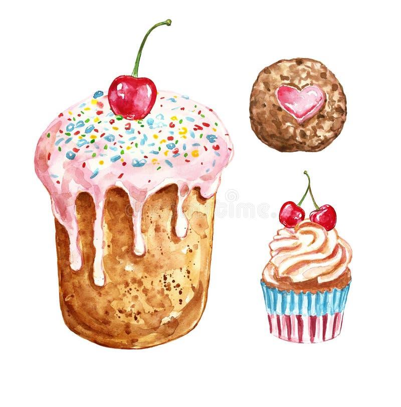 Insieme dei dolci e dei dessert dell'acquerello dolce, biscotto e bigné dipinti a mano con le ciliege, isolate su fondo bianco royalty illustrazione gratis