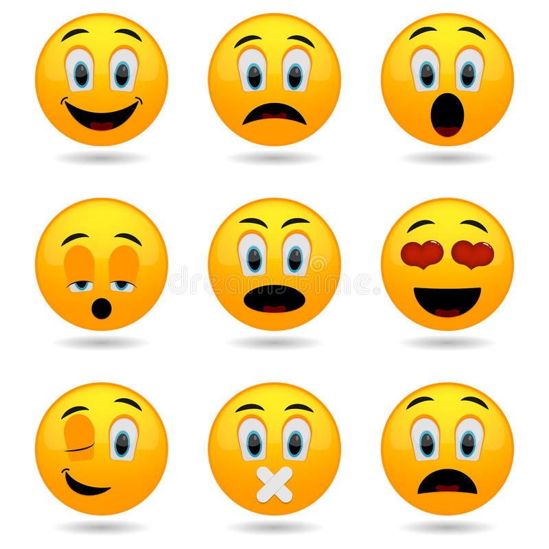 Insieme dei emoticons Icone di sorriso Fronti sorridente Fronti divertenti emozionali in 3D lucido illustrazione vettoriale