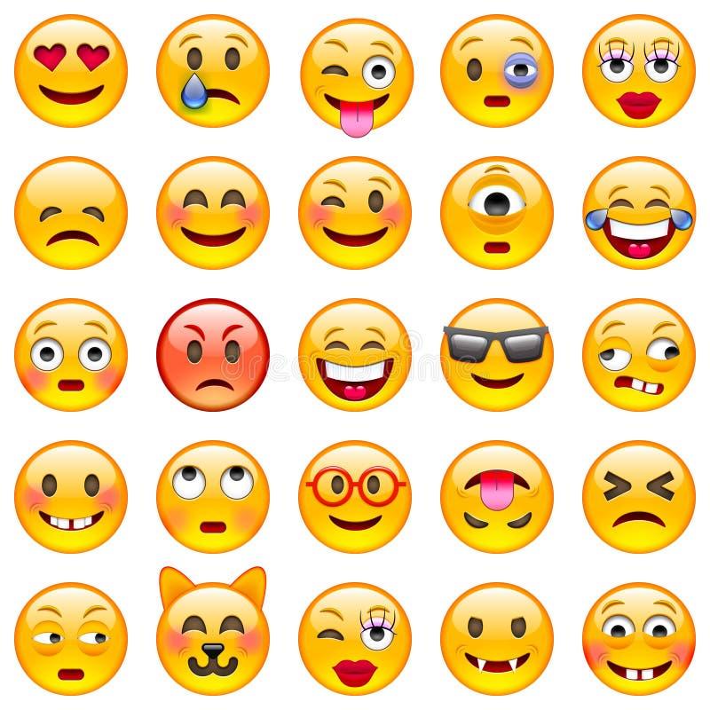 Insieme dei emoticons Insieme di Emoji illustrazione di stock