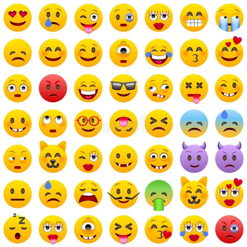 Insieme dei emoticons Insieme di Emoji Icone di sorriso Illustrazione isolata di vettore su fondo bianco