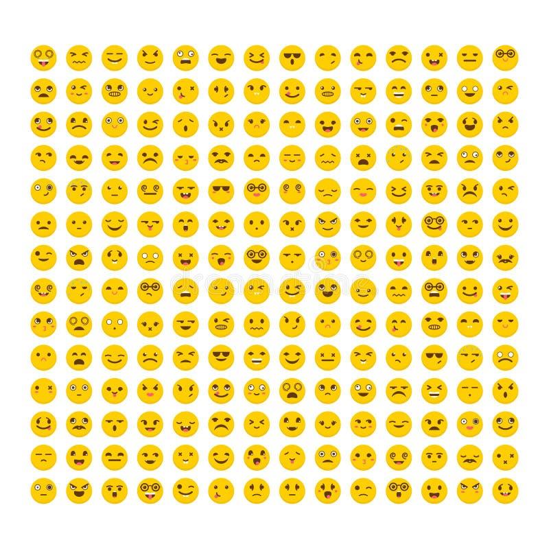 Insieme dei emoticons Progettazione piana Grande raccolta con differenti espressioni Icone sveglie di emoji avatars illustrazione di stock