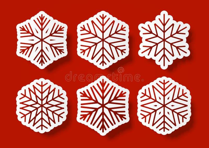 Insieme dei fiocchi di neve di carta illustrazione vettoriale