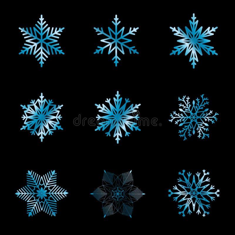 Insieme dei fiocchi di neve con la pendenza blu sul nero per progettazione illustrazione vettoriale
