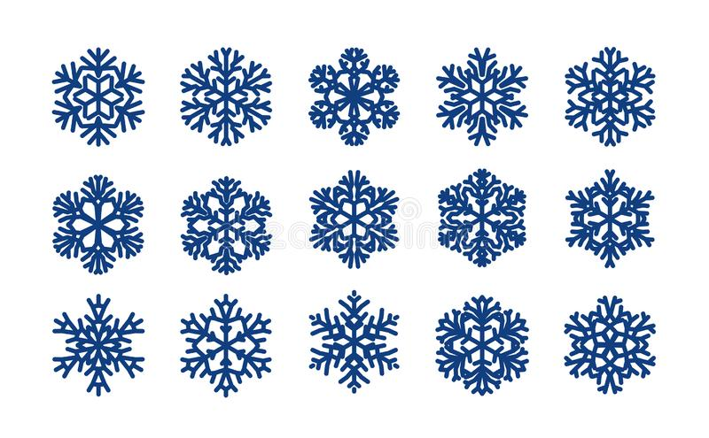 Insieme dei fiocchi di neve decorativi Natale, concetto di inverno Illustrazione di vettore illustrazione di stock