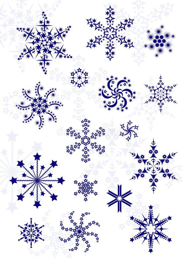 Insieme dei fiocchi di neve differenti illustrazione vettoriale
