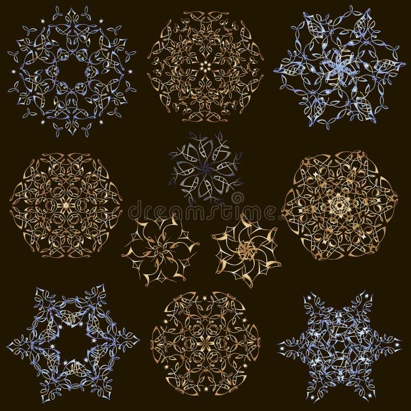 Insieme dei fiocchi di neve eleganti dell'oro su un fondo nero Insieme delle mandale dell'oro illustrazione vettoriale