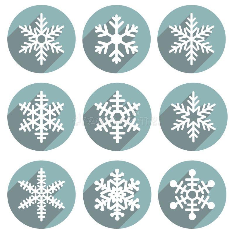 Insieme dei fiocchi di neve semplici di inverno colorati piano illustrazione di stock