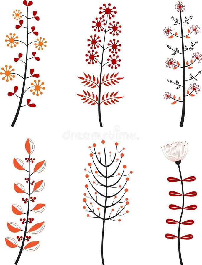 Insieme dei fiori colorati del fumetto royalty illustrazione gratis