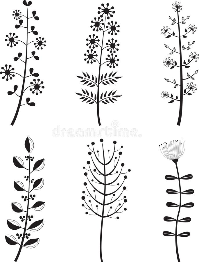 Insieme dei fiori del fumetto illustrazione di stock