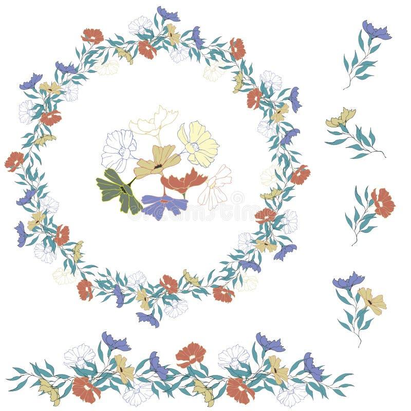 Insieme dei fiori di vettore Retro stile della corona floreale Fiori di estate disegnati a mano su un fondo bianco Per la decoraz illustrazione di stock