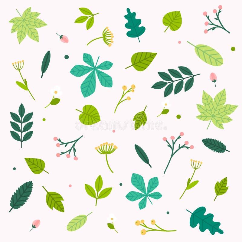 Insieme dei fiori e delle foglie della primavera Concetto moderno dell'illustrazione di vettore di progettazione piana illustrazione vettoriale