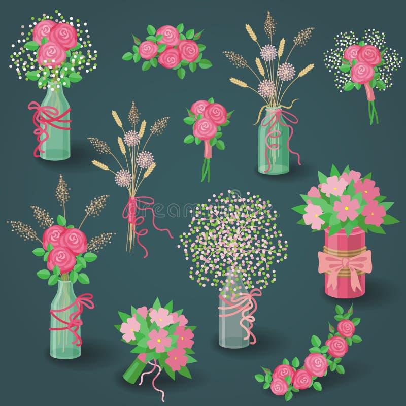 Insieme dei fiori rosa, dei mazzi e degli elementi floreali illustrazione di stock