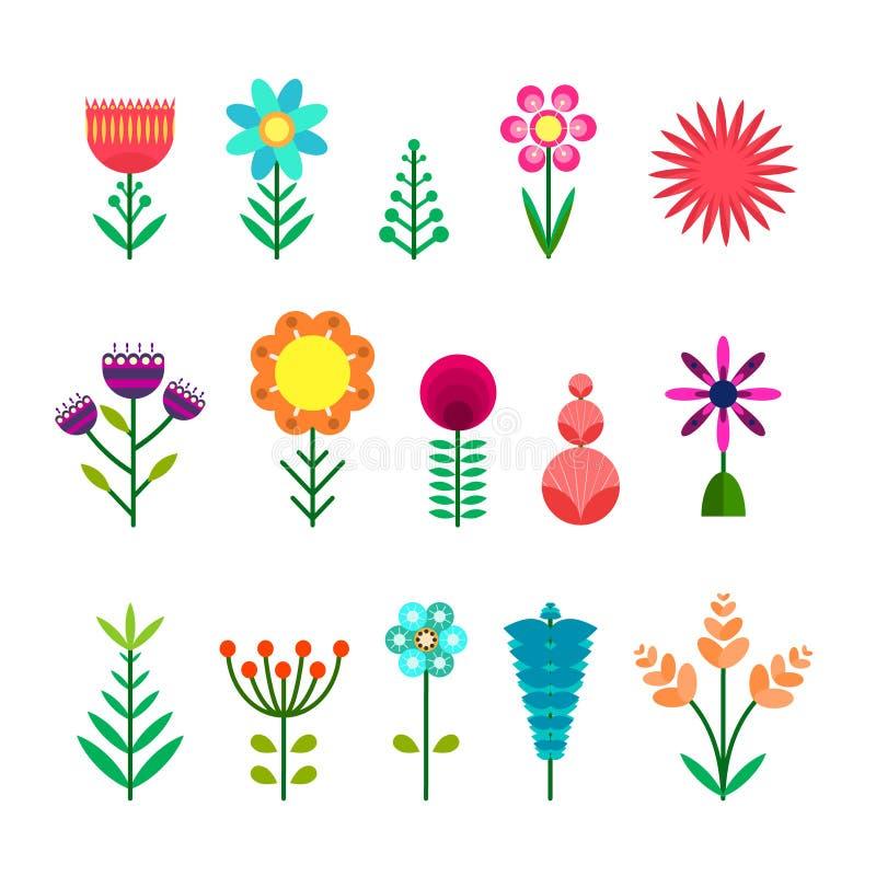 Insieme dei fiori semplici di colore di vettore piano illustrazione di stock