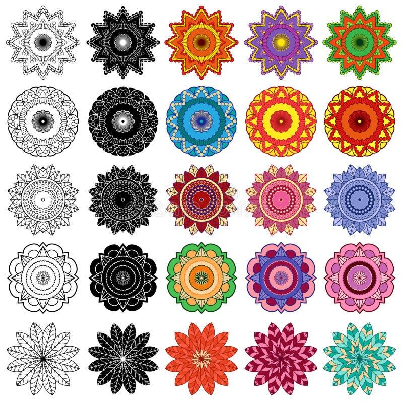 Insieme dei fiori stilizzati di colore e del nero illustrazione di stock