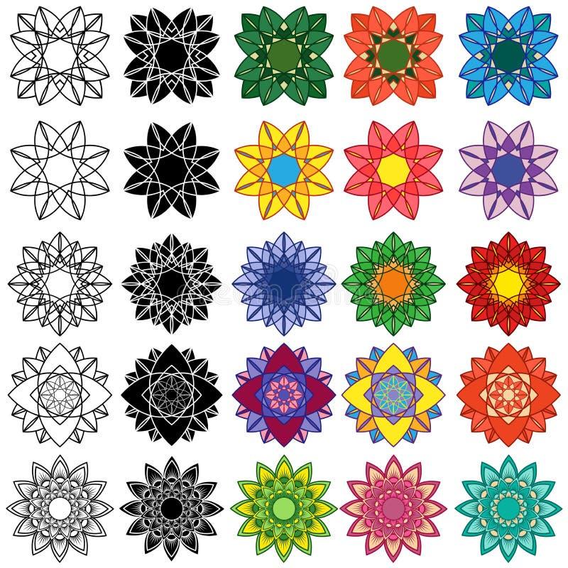 Insieme dei fiori stilizzati neri e variopinti royalty illustrazione gratis