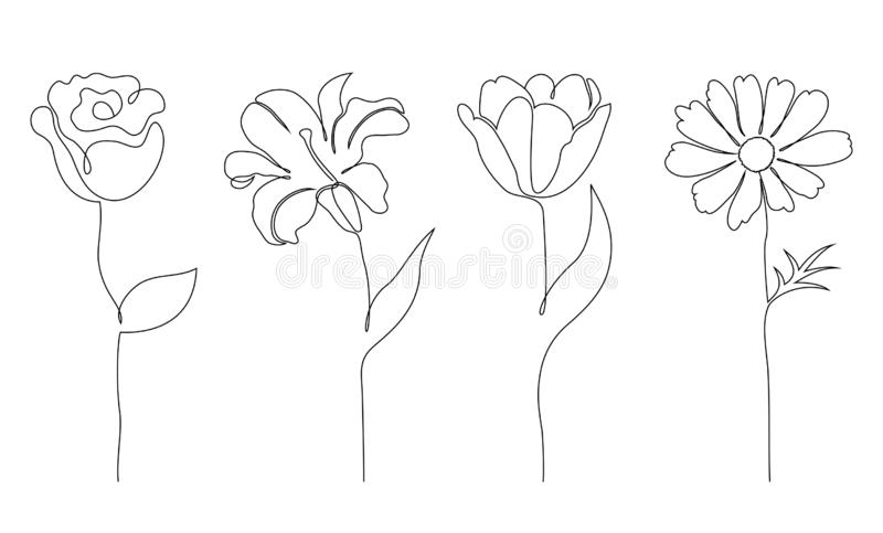 Insieme dei fiori royalty illustrazione gratis