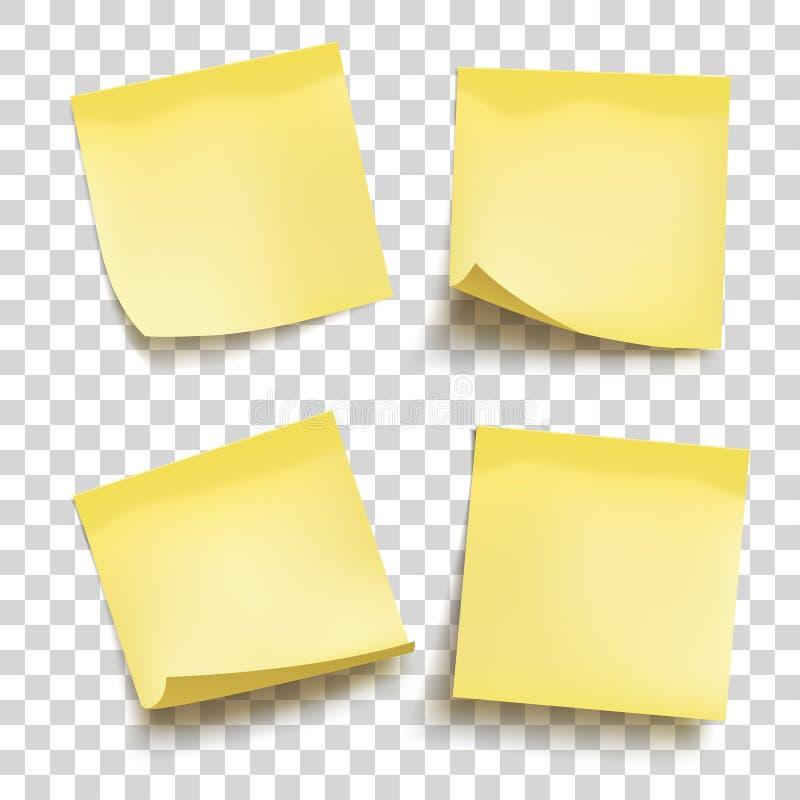 Insieme dei fogli delle carte per appunti gialli Quattro note appiccicose royalty illustrazione gratis