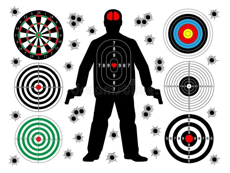 insieme dei fori del tiro e di pallottola degli obiettivi illustrazione di stock