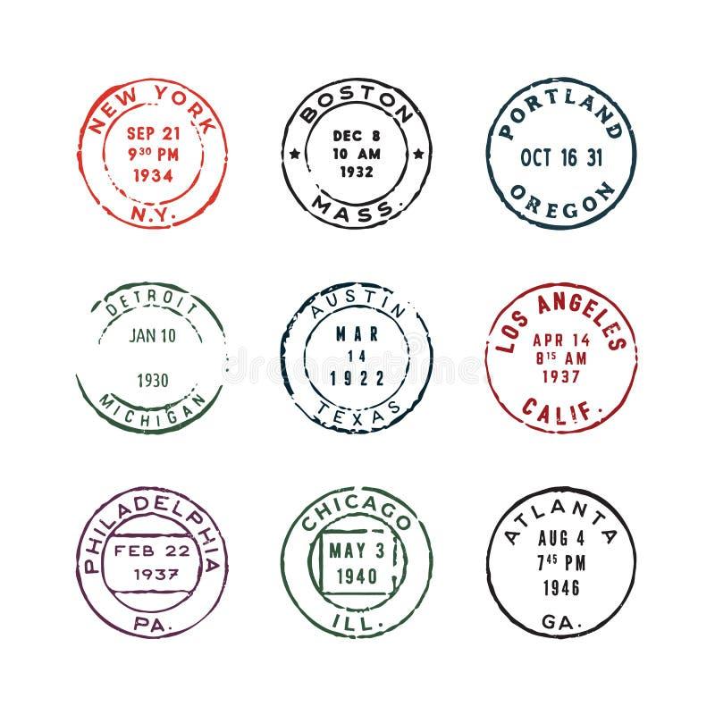 Insieme dei francobolli d'annata Illustrazione di vettore illustrazione di stock