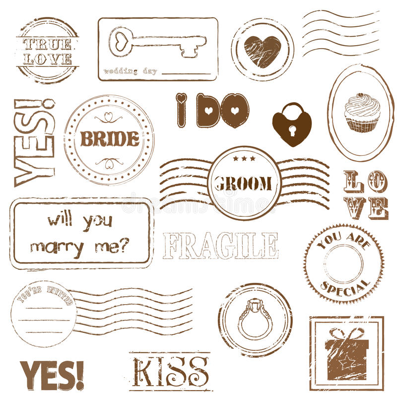 Insieme dei francobolli di cerimonia nuziale royalty illustrazione gratis