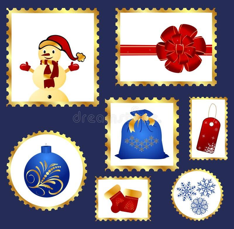 Insieme dei francobolli variopinti di natale illustrazione vettoriale