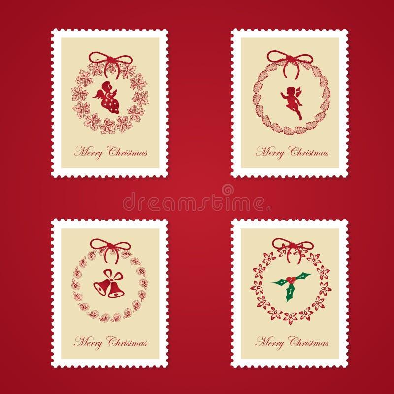 Insieme dei francobolli variopinti di natale royalty illustrazione gratis
