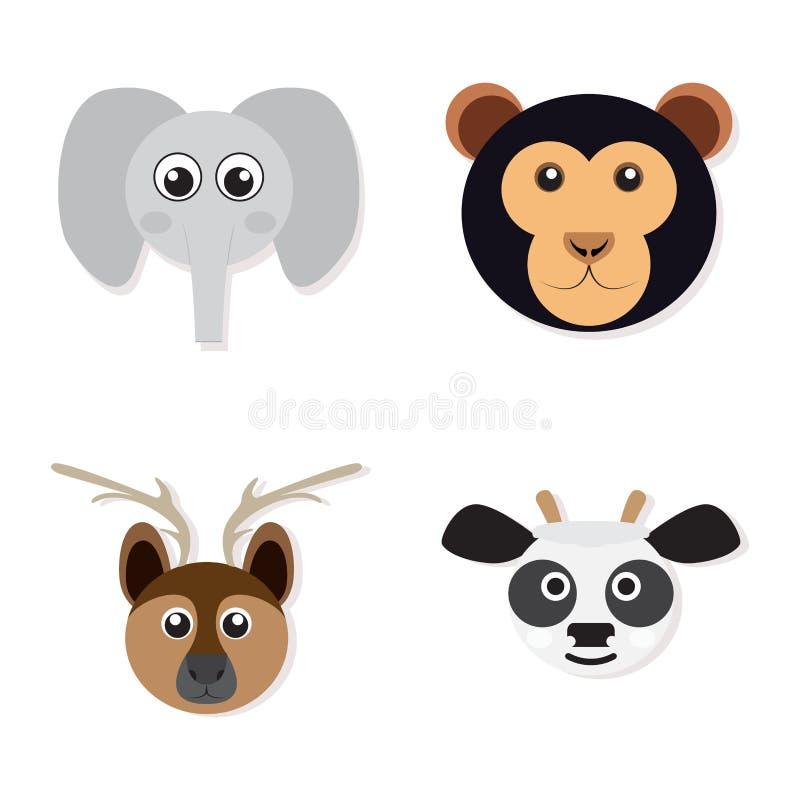 Insieme dei fronti animali illustrazione di stock